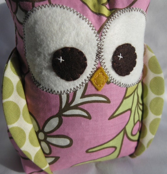Owl bookend with Amy Butler fabric