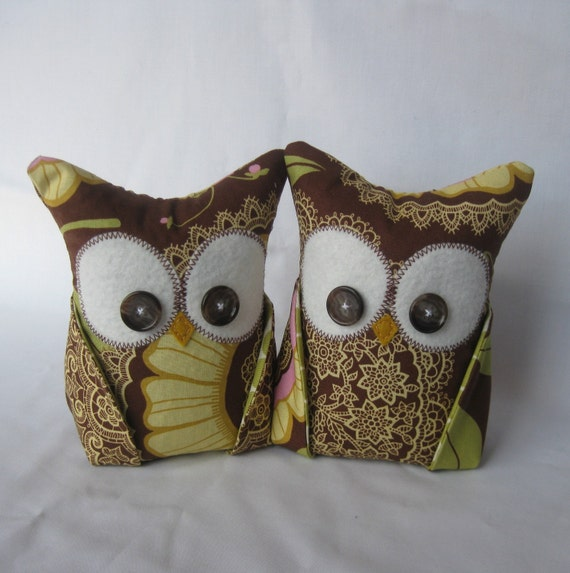 2 Owl bookends, doorstops or paperweights Amy Butler fabric