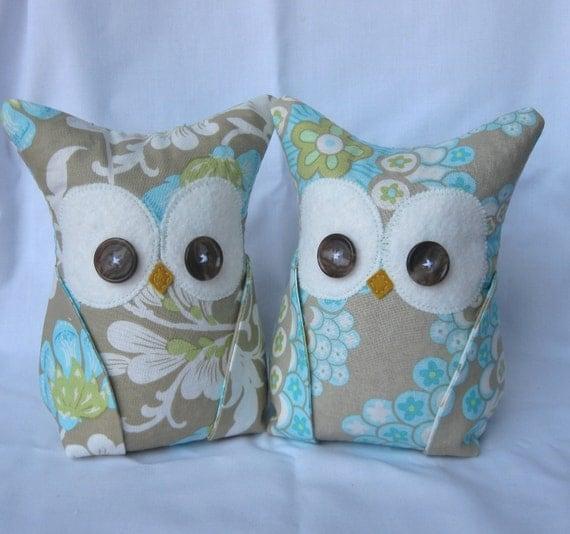 2 Owl Bookends, Doorstops, Paperweights Amy Butler fabric