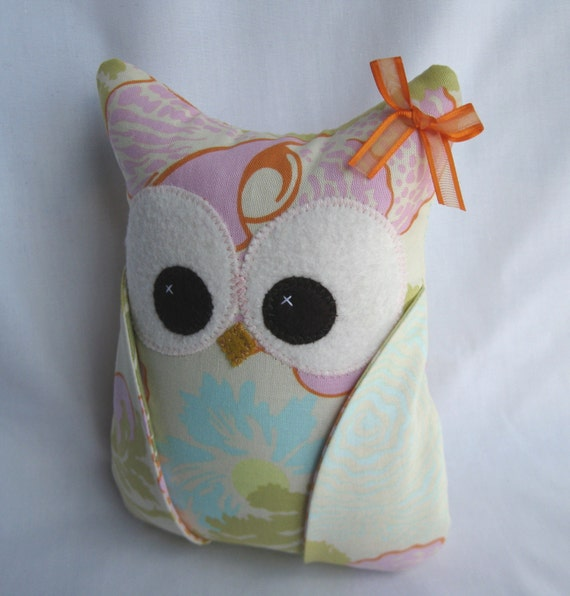 LAST ONE Girly Girl Plush Owl with Amy Butler fabric