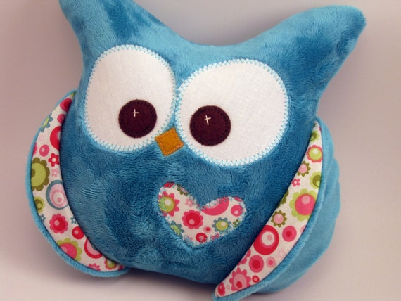 Turquoise  minky owl pillow with Riley Blake fabric