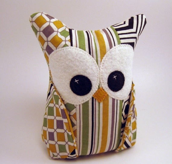 One-of-a-kind patched Owl Bookend READY TO SHIP