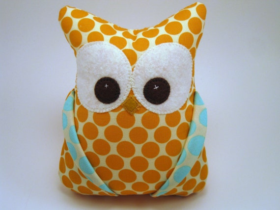 Small Plush Owl made with Amy Butler fabric READY TO SHIP