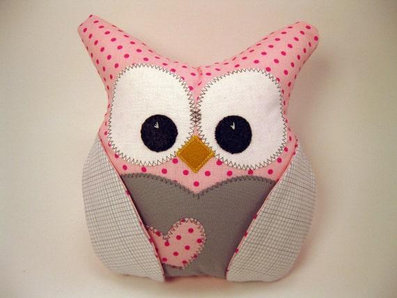 plush owl Pillow designer fabrics READY TO SHIP