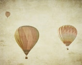 Vintage Hot Air Balloon - 16x20 Fine Art Photography Print - shabby chic vintage style, textured, and sepia home decor photo