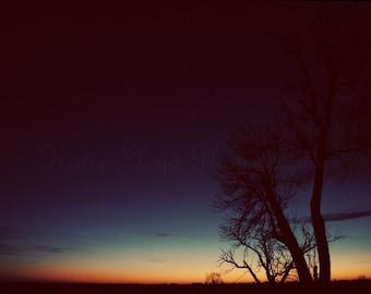 Dawn in the Heartland - 24x36 Fine Art Nature Photography Print - Winter Landscape: Breaking of a Midnight Blue & Harvest Orange Sunrise