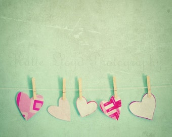 Paper Hearts on the Line - 16x16 Fine Art Photography Print - Pink and Mint Valentine's Nursery, Little Girl's Room and Home Decor Photo