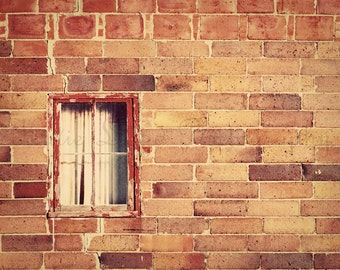 The Secret Window - 11x14 Fine Art Urban Photography Print - Rustic Brown and Burnt Orange Architectural Home Decor Photo