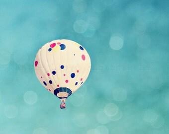 Hot Air Balloon Fine Art Photography Print - Polkadot Balloon Soaring through a Bokeh Filled Teal Sky - Home Decor Photo