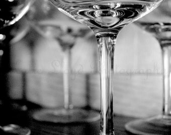 Sultriness of Stemware - 20x30 Fine Art Photography Print - bar, kitchen or home decor photo of wine glasses in black and white