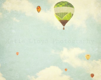 Hot Air Balloons in Flight - 24x36 Whimsical Fine Art Photography Print - Nursery Bedroom Home Decor Photo