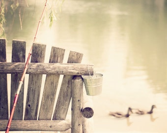 Gone Fishin' - 16x20 Fine Art Photography Print - Serene Relaxing Country Lake Home Decor Photo for Him or Her