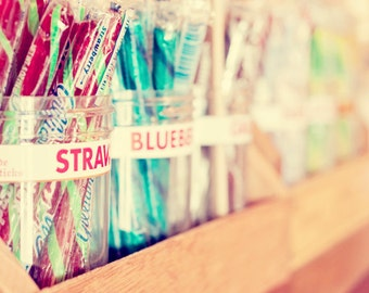 Candy Sticks - 16x20 Fine Art Food Photography Print - old fashioned general store colorful dime candy home and kitchen decor photo