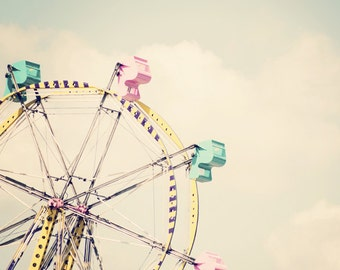 Retro Ferris Wheel - 11x14 Fine Art Carnival Photography Print - Mint Green Cotton Candy Pink and Yellow Ride Nursery Home Decor Photo