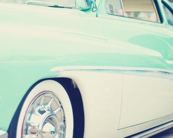 Classic Car in Mint Green - 11x14 Fine Art Auto Photography Print - Bright Retro Vintage Style Home Decor Photo for Men, Guys