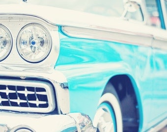 Classic Car in Bright Teal - 16x20 Fine Art Photography Print - Masculine Home or Rec Room Decor Photo