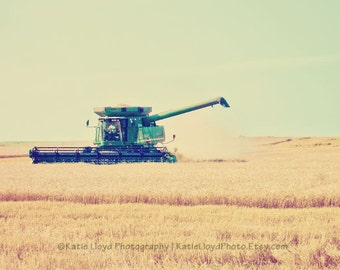 Kansas Wheat Harvest During Summer - 24x36 Fine Art Landscape Photography Print - Midwest Farmer Grain Crop Country Home Decor Photo