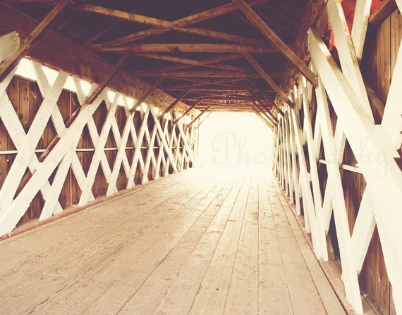 Light at the End of the Covered Bridge in Madison County, Iowa - 11x14 Fine Art Travel Photography Print - Home Decor Photo