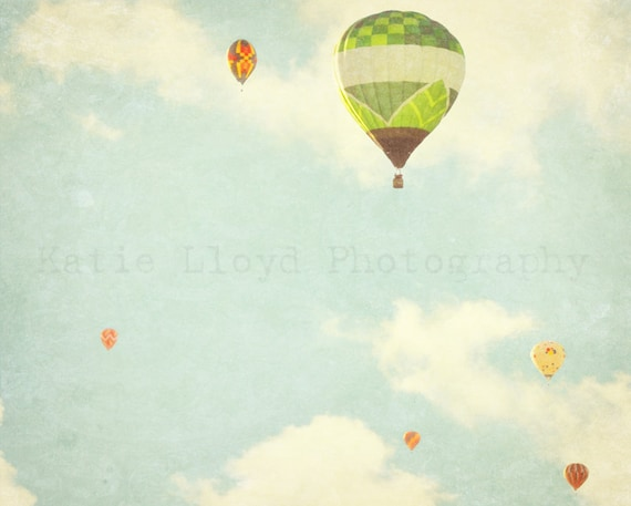 Hot Air Balloons in Flight - 24x36 Whimsical Fine Art Photography Print - Nursery Bedroom Home Decor Photo