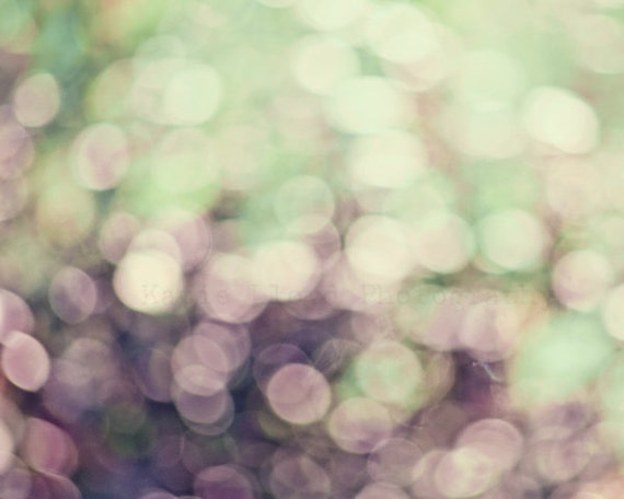 Visions of Sugar Plums - Purple and Mint Abstract Art - Fine Art Photography Print - Circles of Light and Bokeh - Home Decor Photo