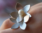 RESERVED FOR HERVE double flower sterling and pearl love ring