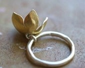 Flower Charm Ring, Flower Ring, Bellflower Ring, Keum Boo Jewelry, Wedding, Gift for Her, Organic Ring, Woodland