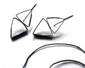 Double Angle Earrings, Geometric, Wearable Art Jewelry