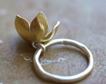 Flower Charm Ring, Keum Boo Jewelry