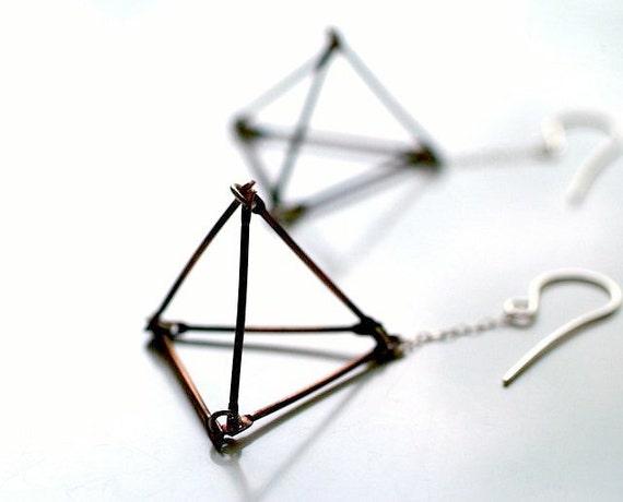 open pyramid dangle earrings