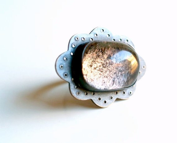 Sterling Silver Eyelet Lace and Quartz Stone Ring, Gemstone Ring, Wearable Art Jewelry,