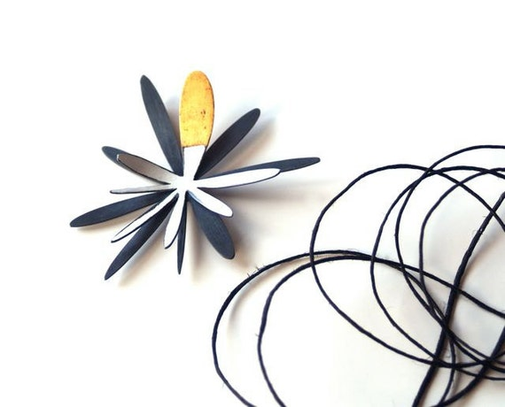 Splurt Brooch, Atomic Flower Brooch, Wearable Art, Metalwork Jewelry, Fashion Jewelry, Black and White with Fused Gold