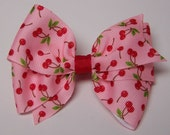 Pink with Red Cherry Boutique Bow