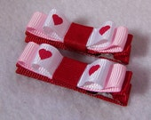 Red, White and Pink Heart Non Slip Clips