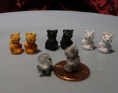 Ceramic Cat Beads 8 Mixed colors 2 of each color