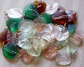 glass leaf beads charms leaves Pre wired mixed assortment lot of 30