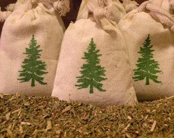 THREE Balsam Fir Cotton Muslin Sachet Gift Bags  - Ready To Ship  -  Set Of Three Sachet Bags -   Naturally Scented