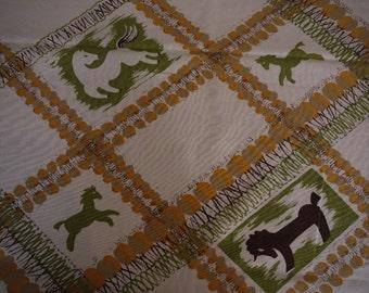 Vintage Tablecloth - 1950s Stylized MOD horses