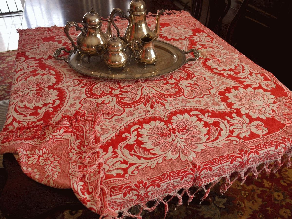Hold Hold Vintage Tablecloth Victorian Turkey Red 1890