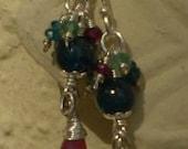 Tinker Bell All Grown Up-Apatite, Ruby, Garnet Sterling Silver Charm Earrings