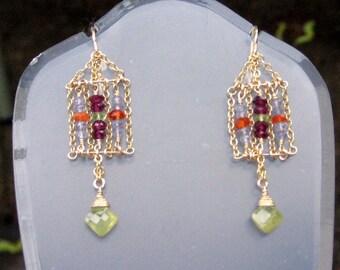 Caged-Tanzanite, Garnet,  Fire Opal Earrings