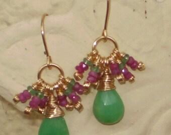Ornamental-Chrysoprase, Emerald and Sapphire Earrings