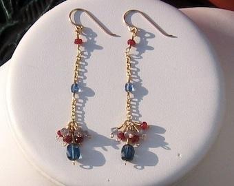 Shimmer-Kyanite, Ruby and Tanzanite Earrings