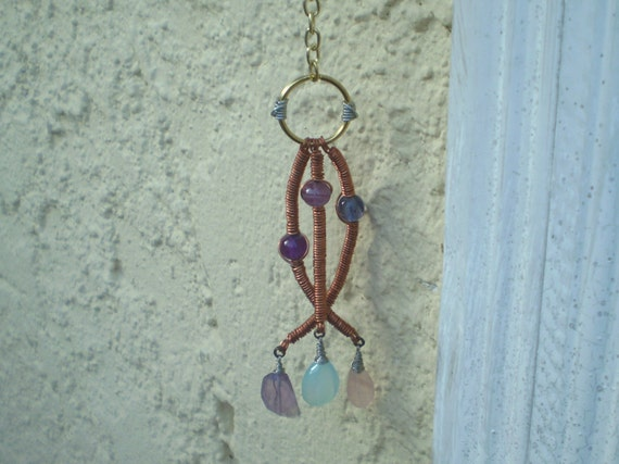 Three Wishes-Handcrafted Artisan Amethyst, Rose Quartz and Chalcedony Mobile