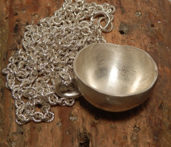 Satin finish sterling silver bowl necklace