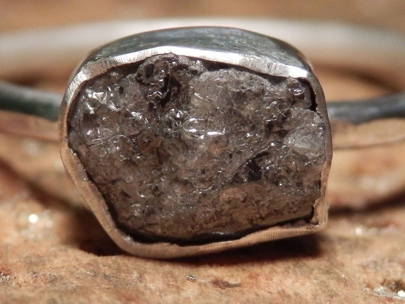 Sterling silver and shimmering medium grey rough diamond ring