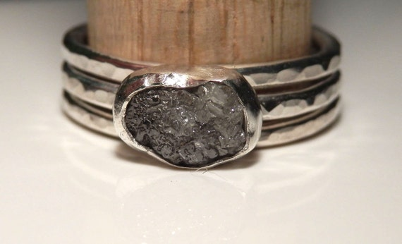 Sterling silver and silvery grey rough diamond ring stacking set