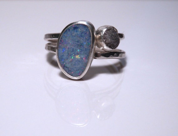 Sterling silver stacking set: Australian opal doublet and conflict free rough diamond