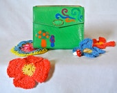Handpainted Caterpillars Love Mushrooms Green Faux Leather Wallet