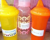 Sweet Wishes Dishwasher Safe, Waterproof Labels Stickers for Bottles or Sippy Cups - Great Baby Gift