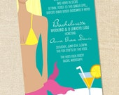 Sweet Wishes Bridal Shower Lingerie Bachelorette Beach Pool Party Invitations - PRINTED - Digital File Also Available
